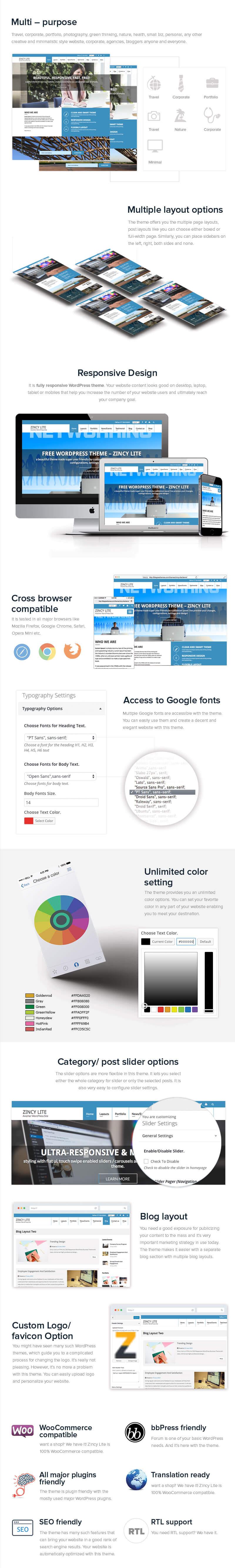 zincy lite free multipurpose wordpress theme salespage