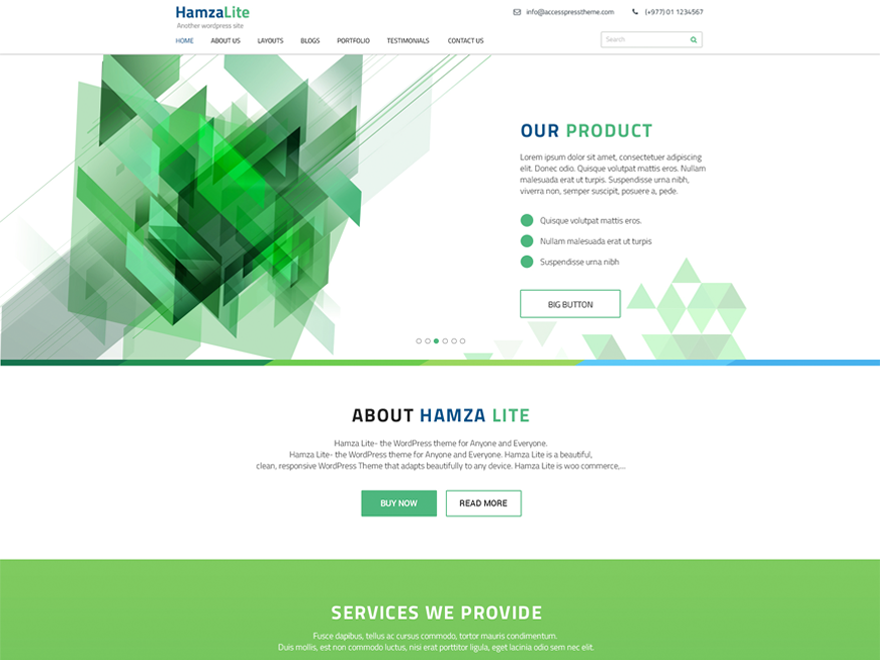Need a free WordPress business theme? - Get Hamza Lite