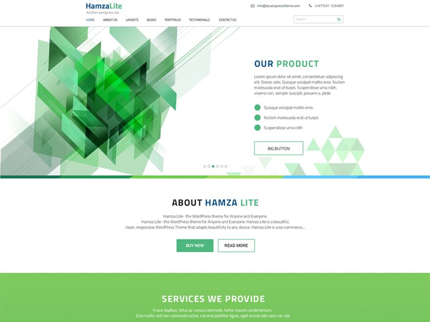 Need a free WordPress business theme? - Get Hamza Lite