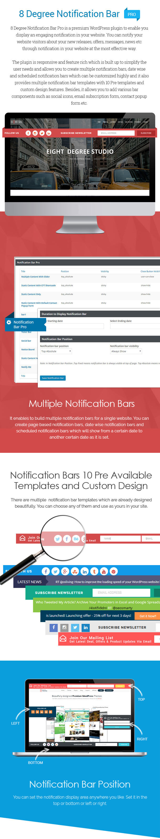 8Degree Notification Bar PRO - Premium Notification Bar Plugin