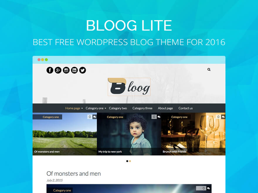 Bloog Lite: Best Free WordPress Blog Theme for 2017