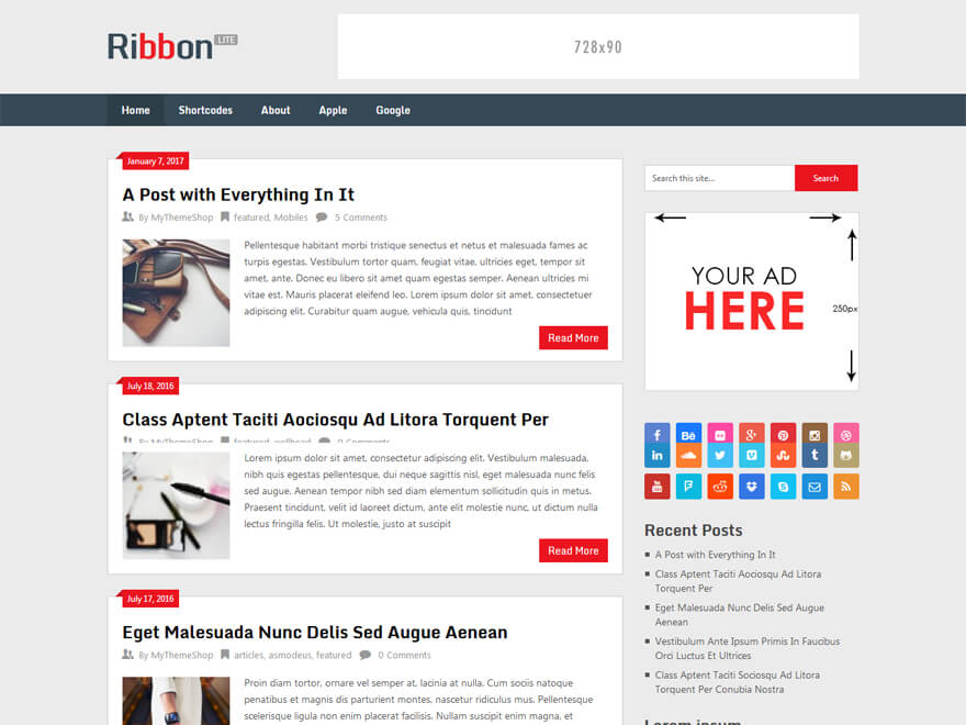 ribbon lite free wordpress blog themes