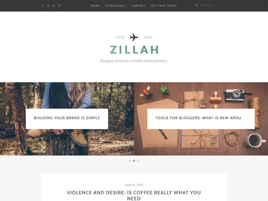 Zillah - Free WordPress Blog Themes
