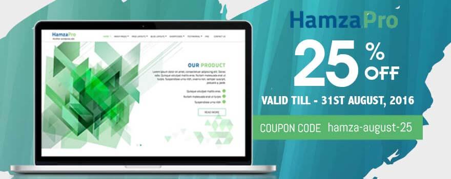 Amazing WordPress theme Hamza Pro theme on SALE – 25% OFF this August