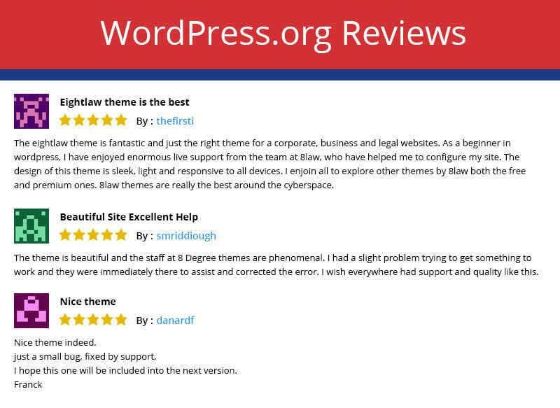 EightLaw Lite – Free Lawyer WordPress Theme For Law Firm - Reviews