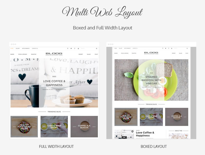 Bloog Pro WP theme feature - Multiple web layouts