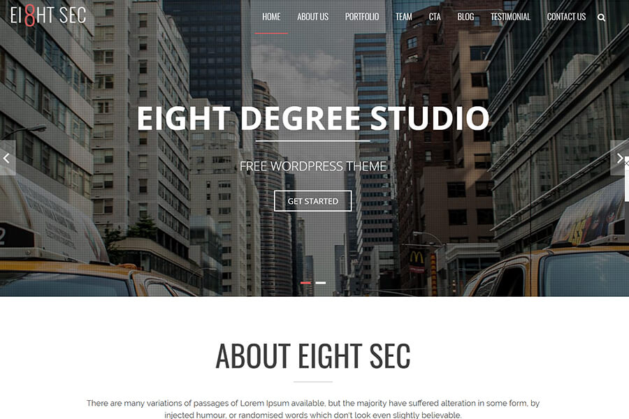 Eight Sec - free WordPress theme