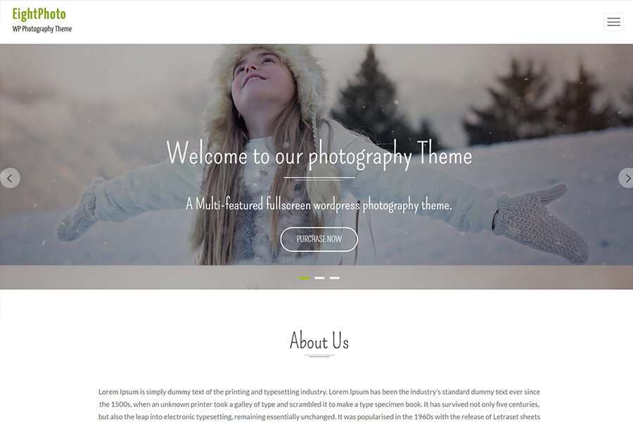 EightPhoto - free portfolio WordPress theme