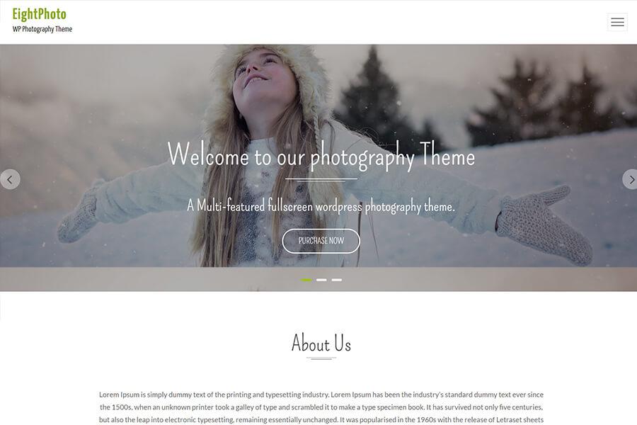 EightPhoto - free portfolio WordPress theme
