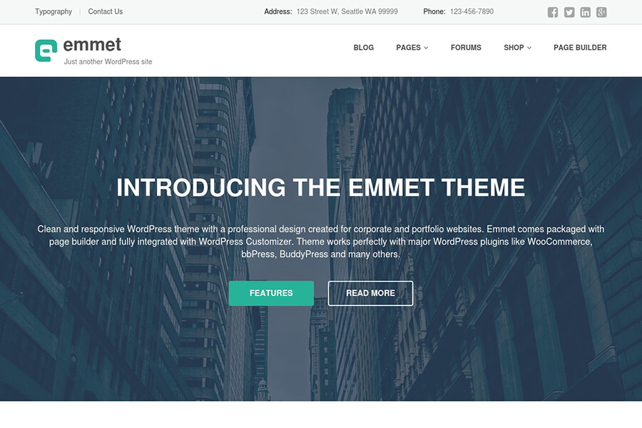 Emmet - free portfolio WordPress theme