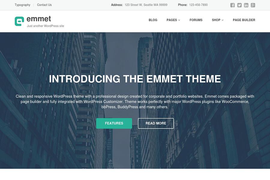 Emmet - free portfolio WordPress theme