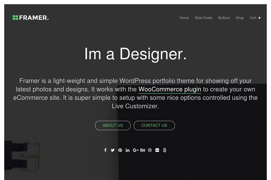 Framer - free portfolio WordPress theme