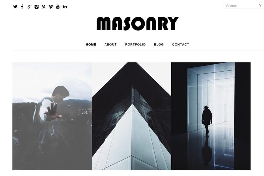 Masonry - free portfolio WordPress theme