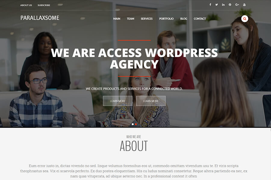 ParallaxSome - free portfolio WordPress theme