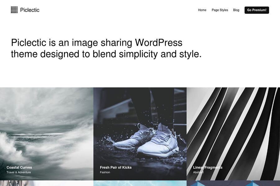 Piclectic - free portfolio WordPress theme