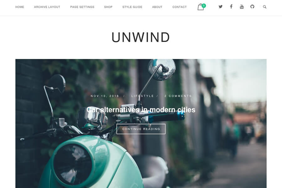 Unwind - free portfolio WordPress theme