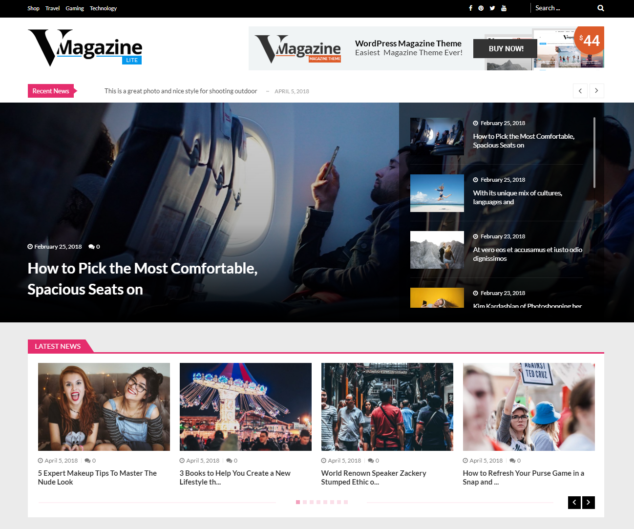 vmagazine lite WordPress themes free download responsive for blog