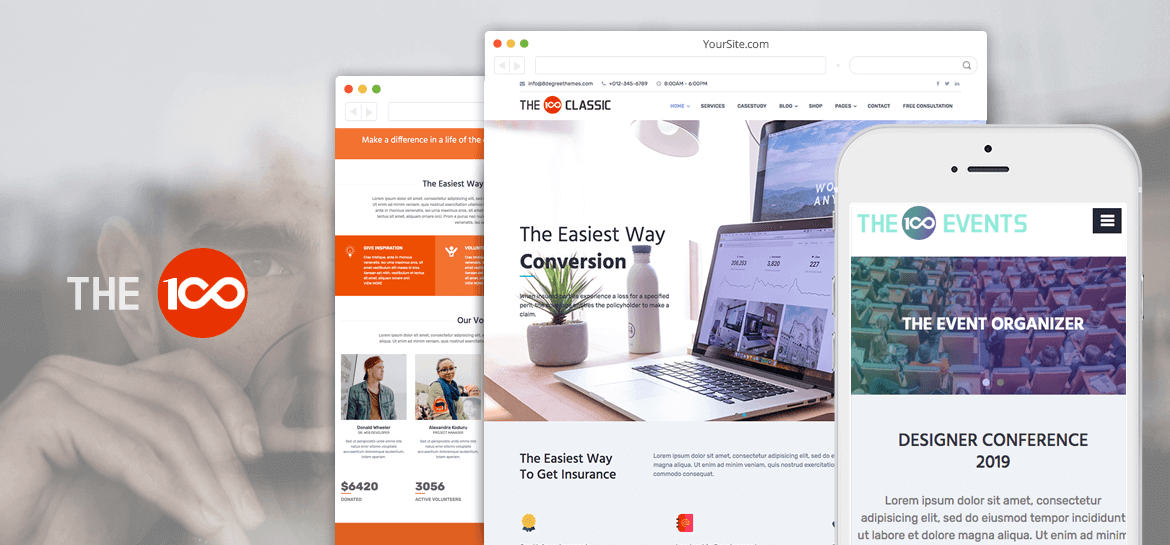The100 – Best free multipurpose and multi-layout WordPress Theme