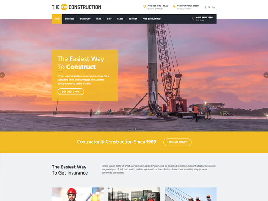 The100 WordPress Theme - Construction Layout