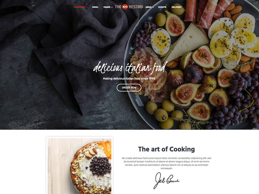 The100 WordPress Theme - Restaurant Layout