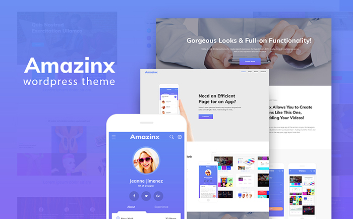 Amazinx - Mobile App Responsive One Page WordPress Theme WordPress Theme