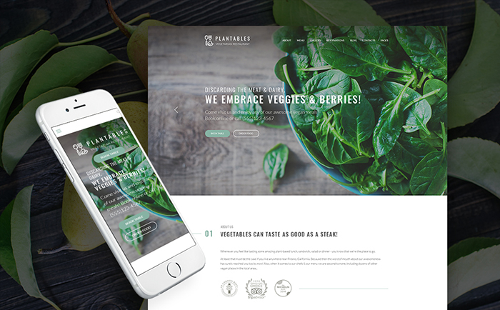 Plantables - Vegetarian Restaurant WordPress Theme