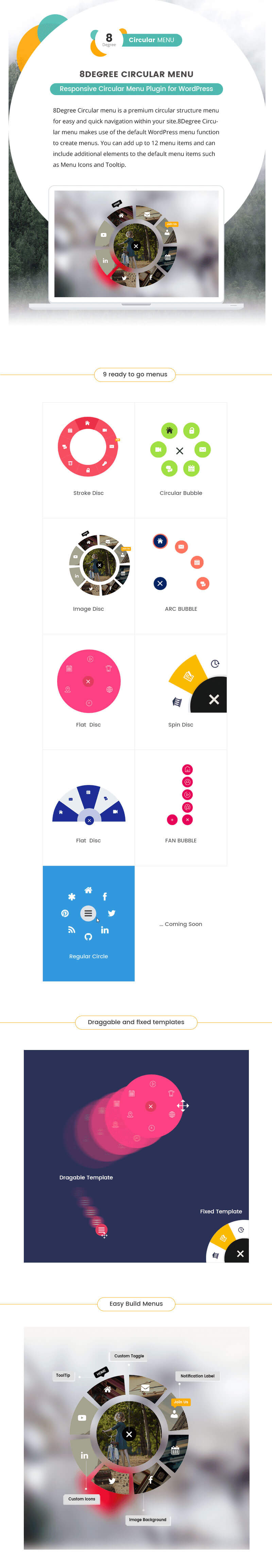 Eight Degree Circular Menu – Floating Circular Navigation Menu for WordPress