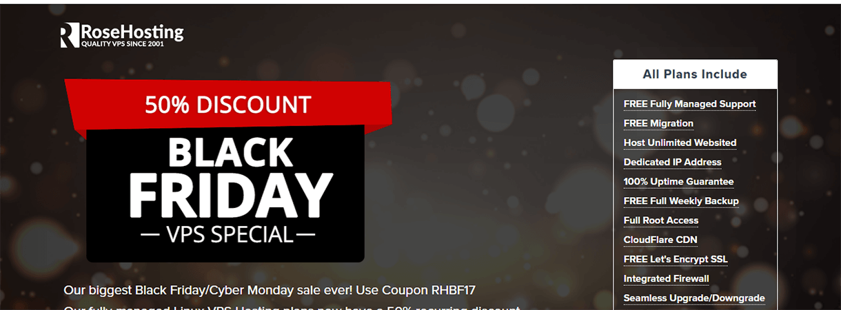 RoseHosting - WordPress Black Friday and Cyber Monday Deals