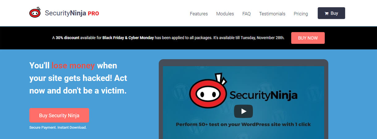 Security Ninja Pro - WordPress Black Friday and Cyber Monday Deals