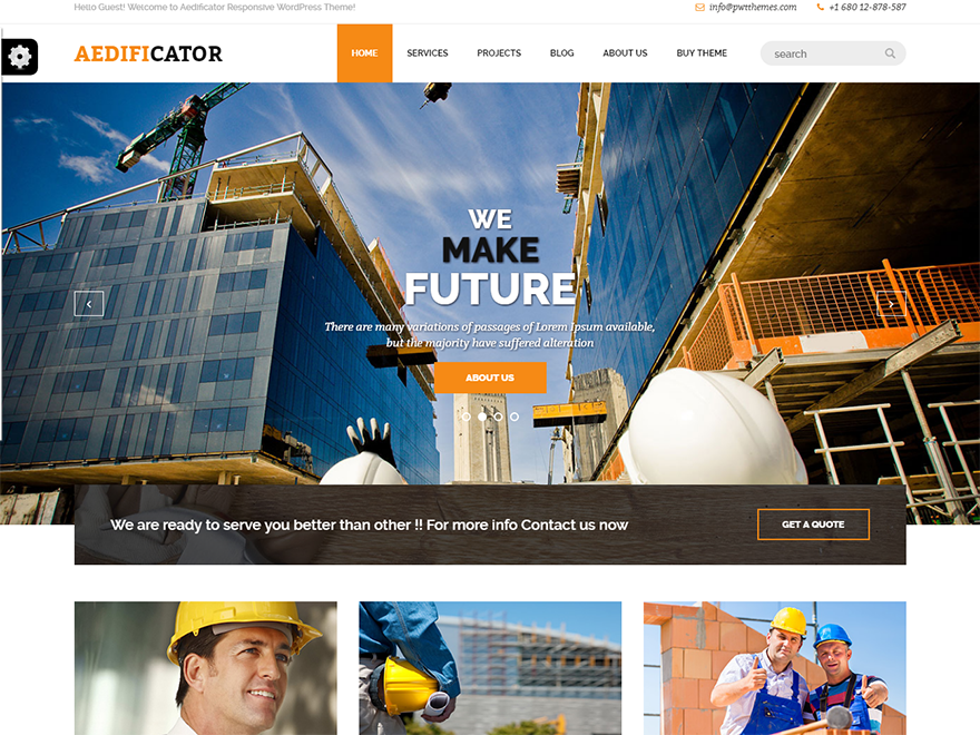 Aedificator-Free Construction WordPress Theme
