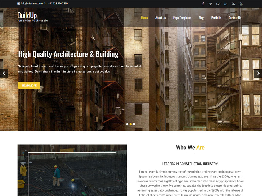 Buildup-Free Construction WordPress Theme