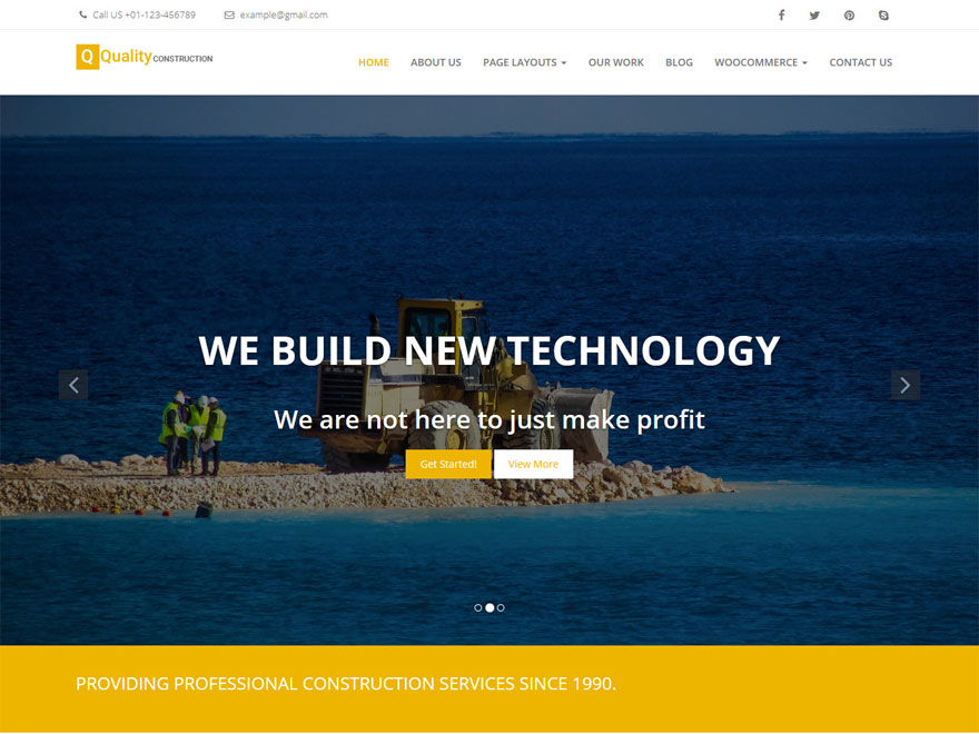 Quality Construction-Free Construction WordPress Theme