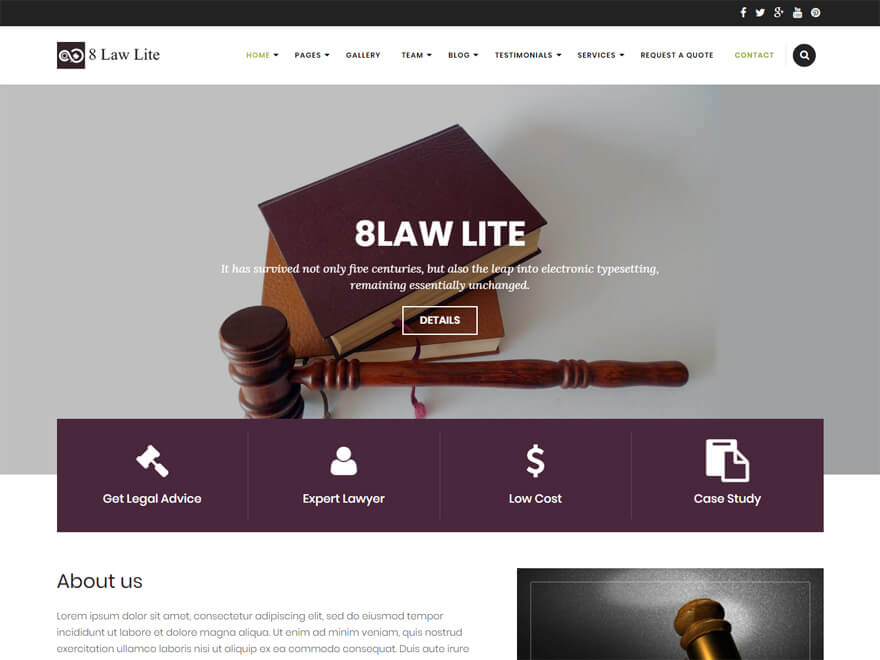 EightLaw Lite-Free Lawyer WordPress Theme