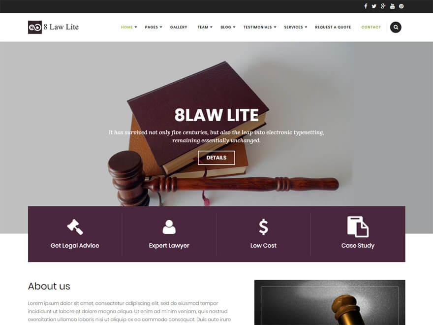 EightLaw Lite-Free Lawyer WordPress Theme