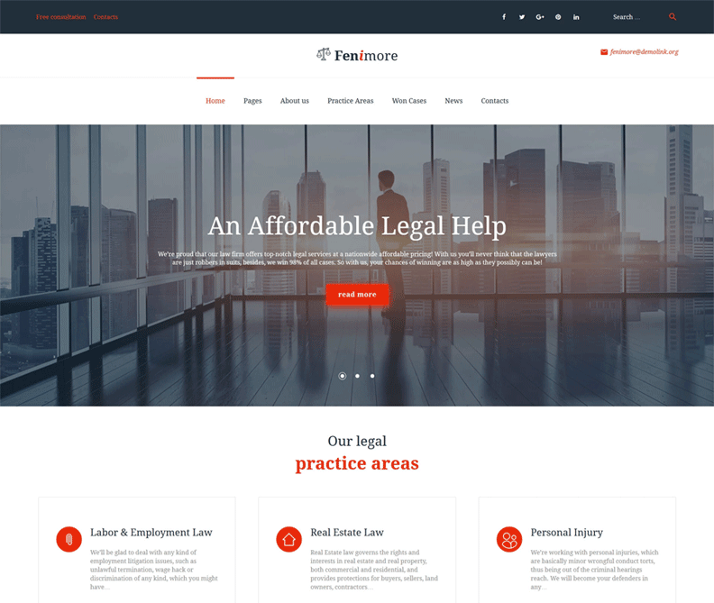 Fenimore - Best Lawyer WordPress Theme For Law firms and Attorney