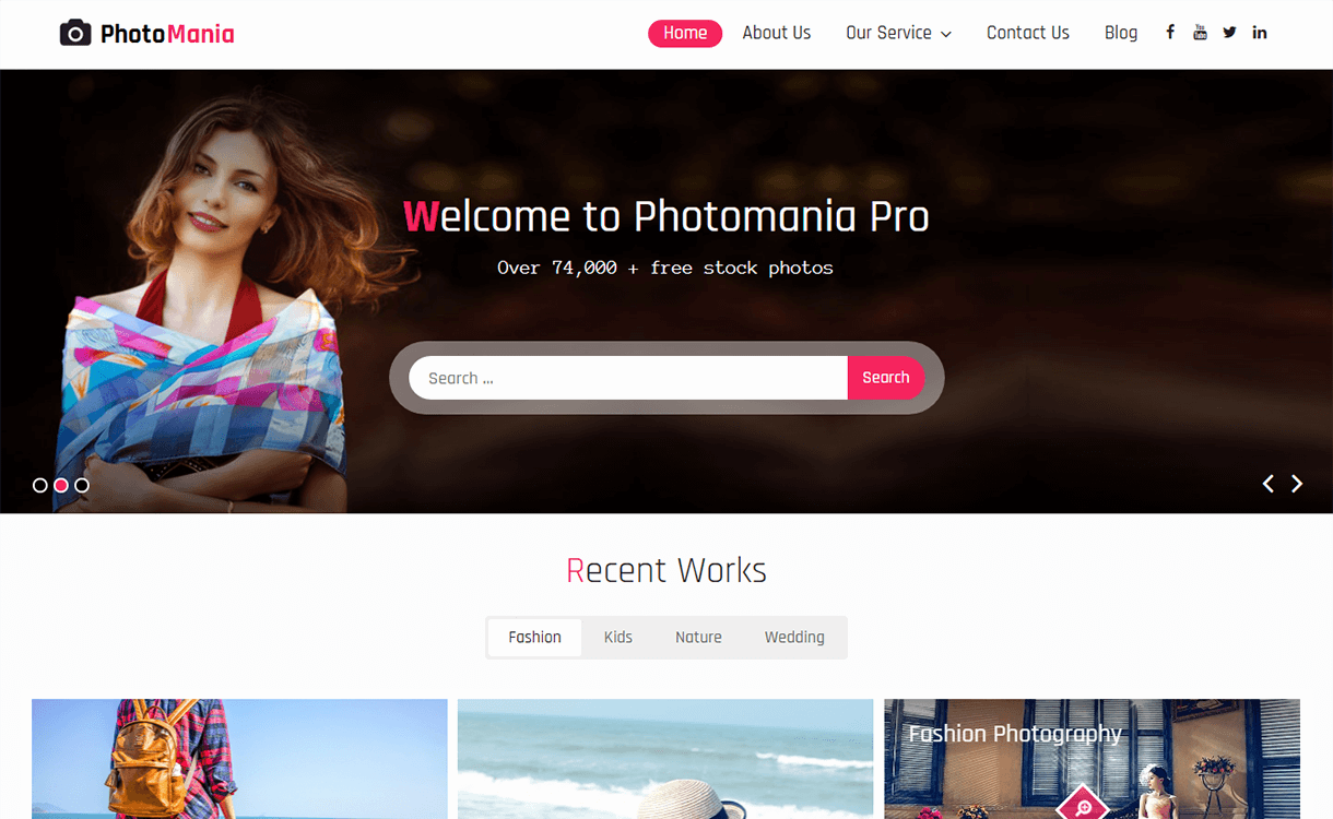 Photomania-Free Photography WordPress Theme