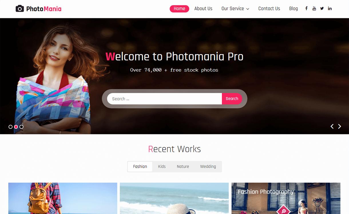 Photomania-Free Photography WordPress Theme
