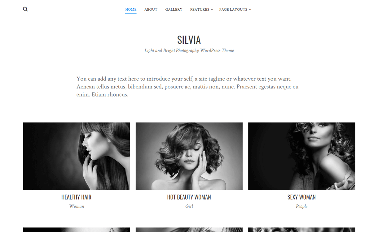 Silvia-Free Photography WordPress Theme