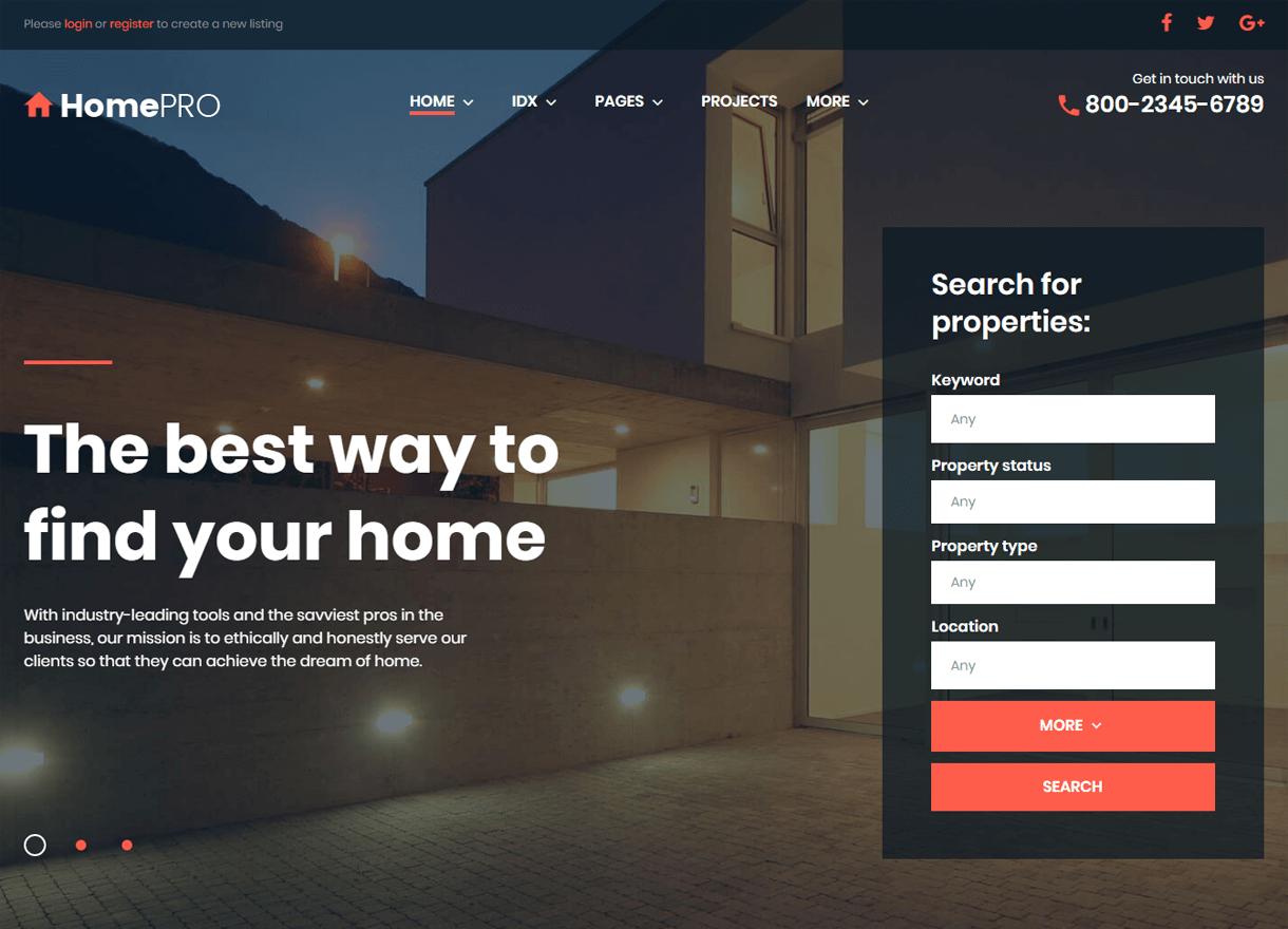 HomePro-Best Premium Real Estate WordPress Themes