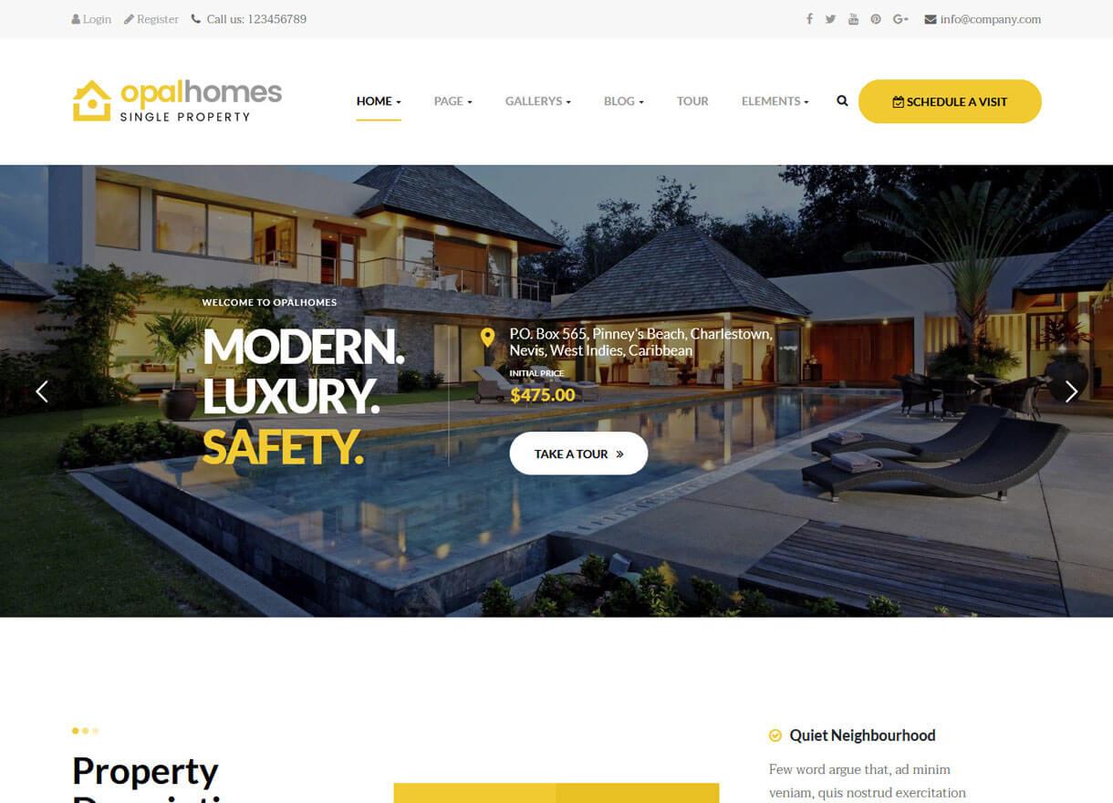 OpalHomes-Best Premium Real Estate WordPress Themes