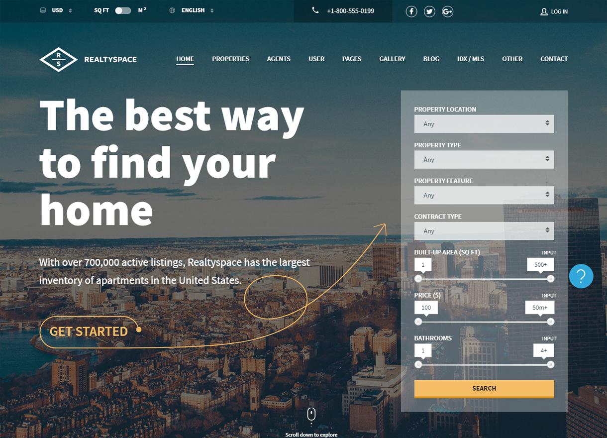 Realtyspace-Best Premium Real Estate WordPress Themes
