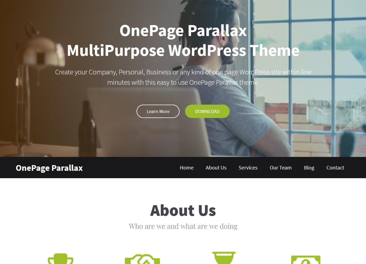 Onepage Parallax-Best Free One page WordPress Themes