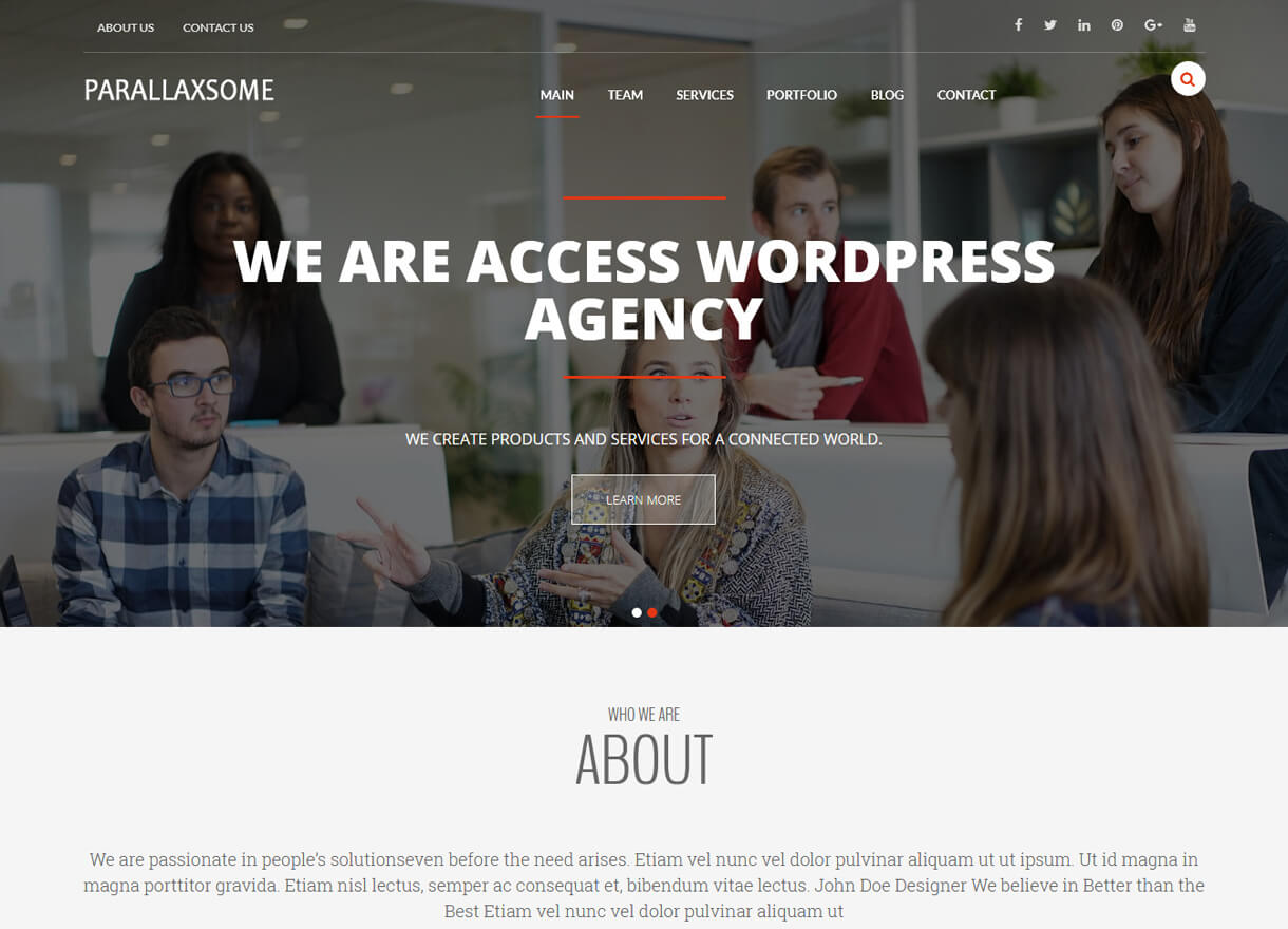 Parallaxsome-Best Free One page WordPress Themes