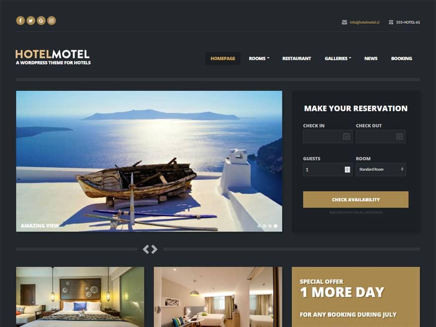 HotelMotel - WordPress Hotel and Resort Themes