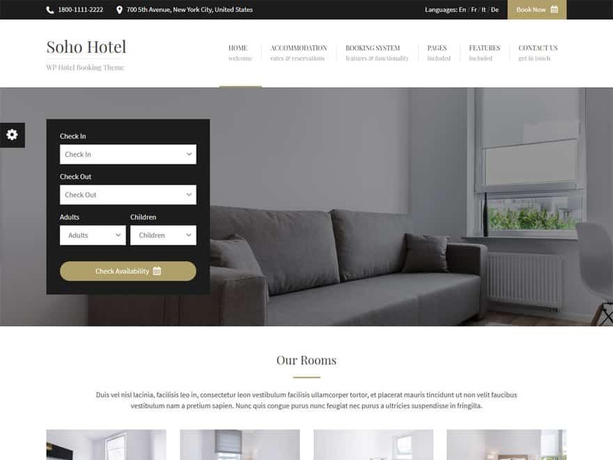 Soho Hotel - WordPress Hotel and Resort Themes