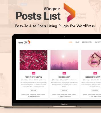 Eight Degree Posts List - Blog Post Designer Premium WordPress Plugin