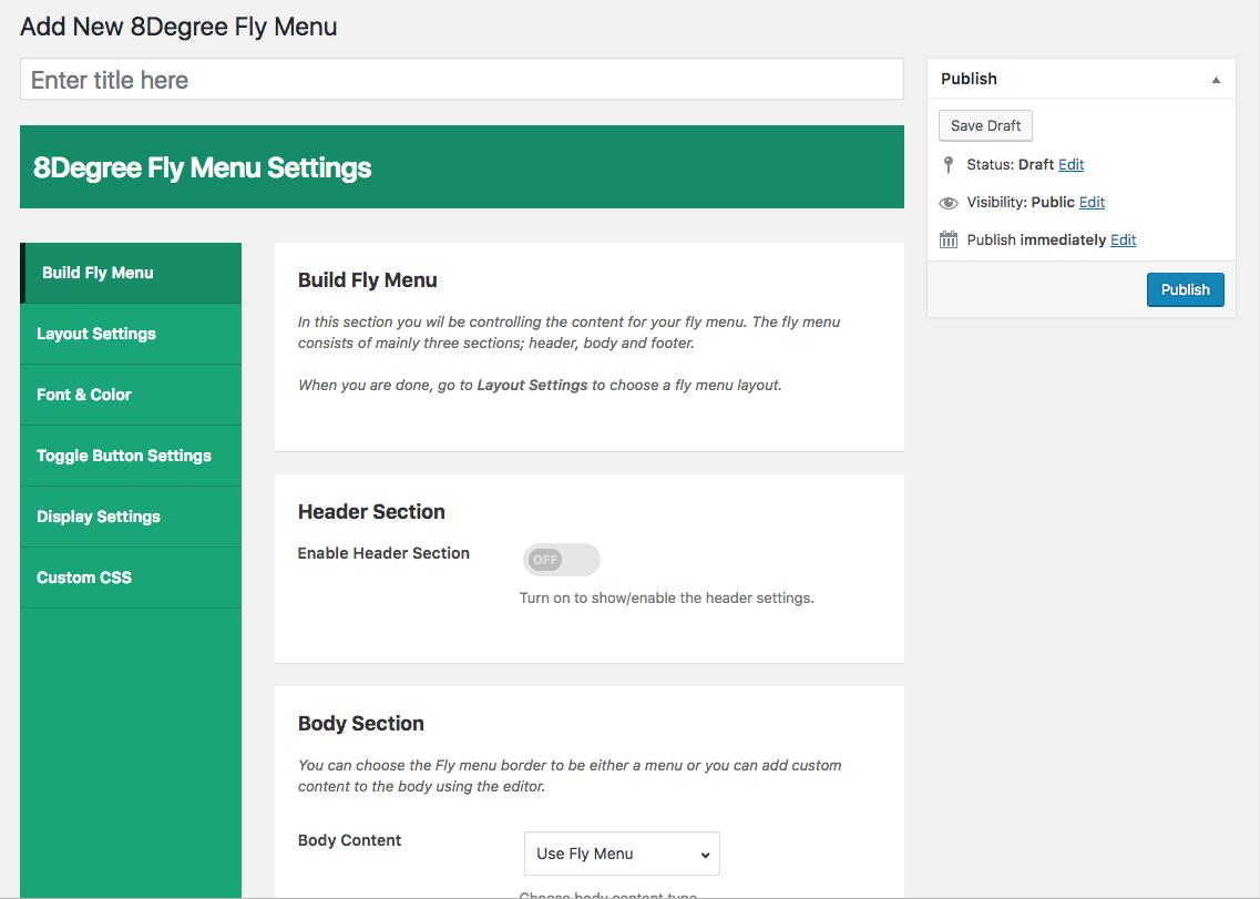 8Degree off canvas fly menu - build menu