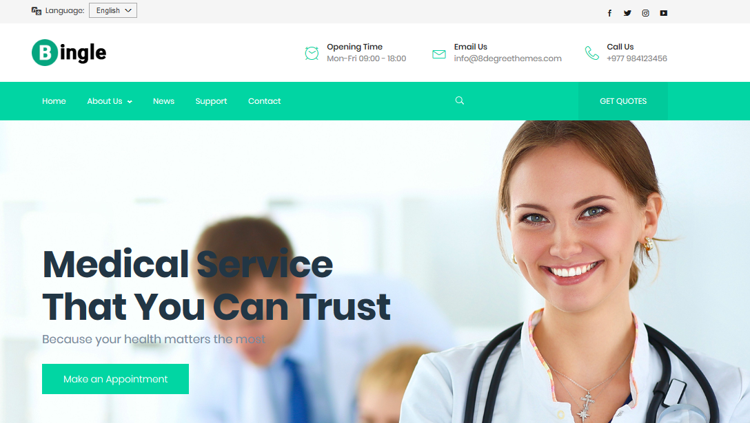 Bingle - A medical WordPress Theme