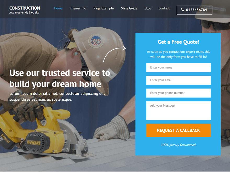 Construction Landing Page - Best Free Landing Page WordPress Themes