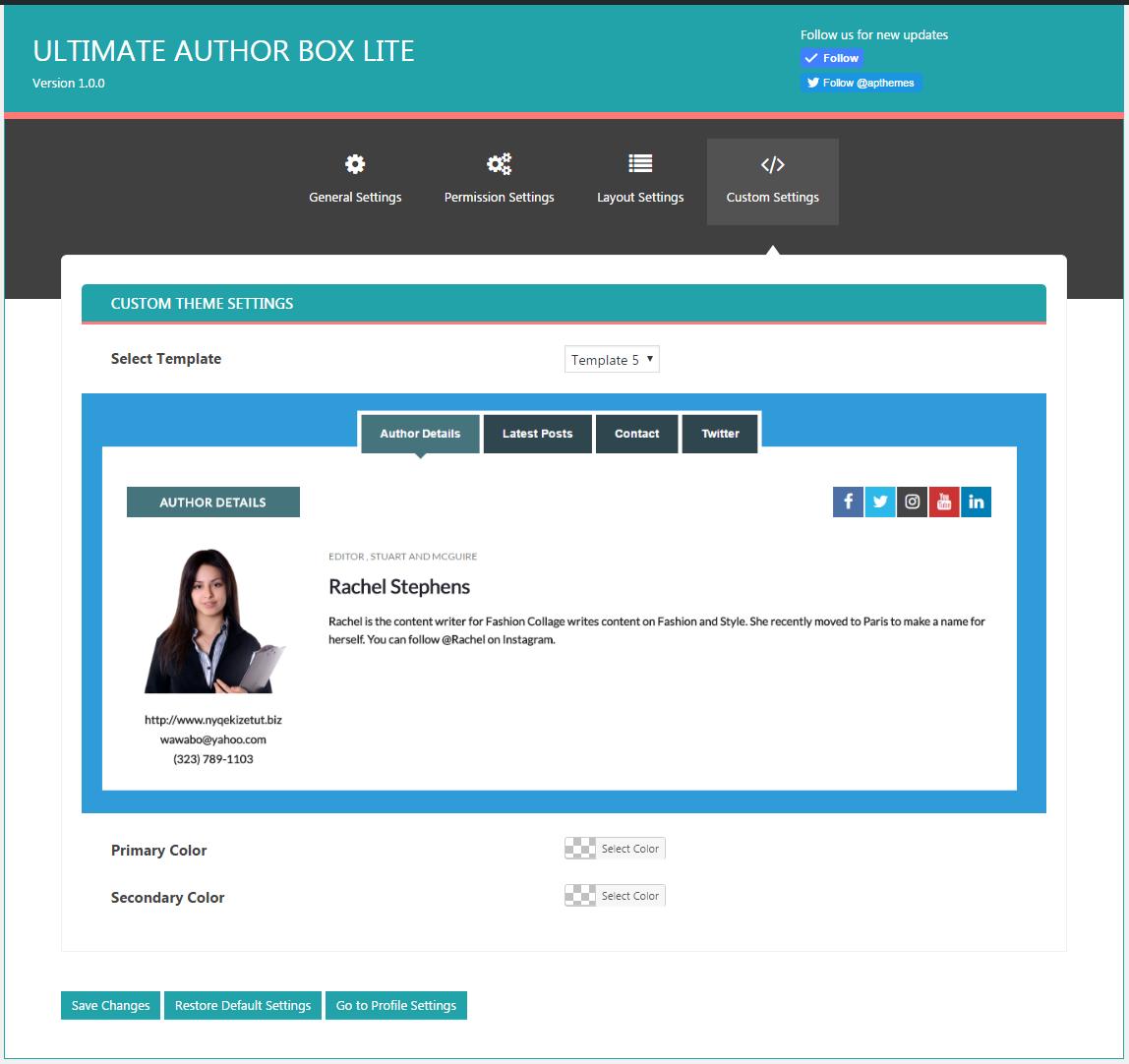 Ultimate Author Box Lite: Custom Settings Tab